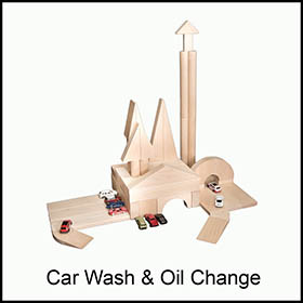 Wooden Building Blocks Car Wash