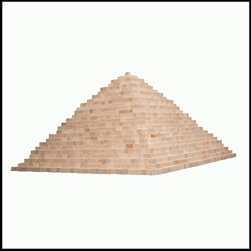 Pyramid of wooden blocks