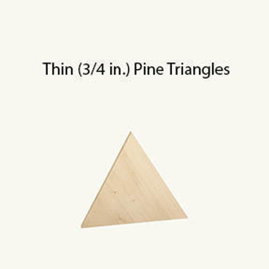 """Picture of 3/4 thick by 6.5"""" tall pine triangle"""