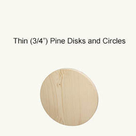 "Picture of Thin (3/4"") Pine Circles, disks, rounds: 7.5 in."